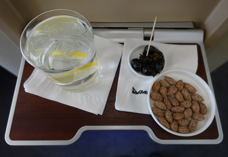 Review: Qantas First Class A380-Pre-Flight Drink and Snacks