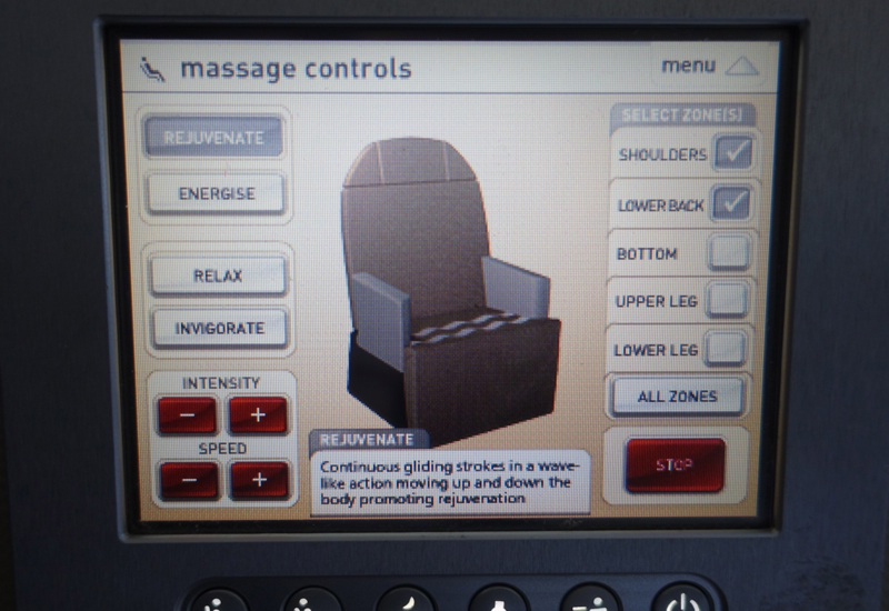 Massage Controls, Qantas First Class Seat Review, A380