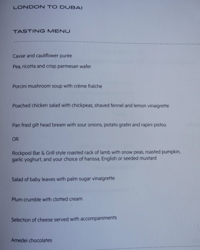 Tasting Menu, Qantas First Class A380-London to Dubai