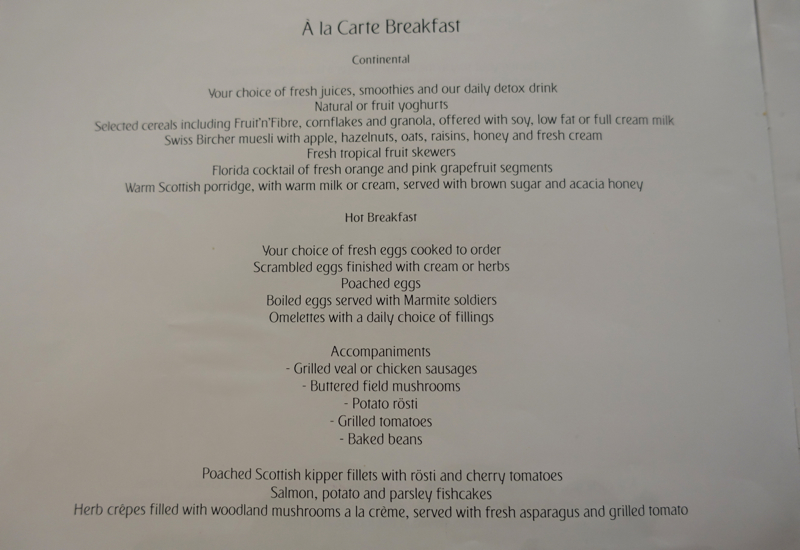 Emirates First Class Lounge Dubai Breakfast Menu