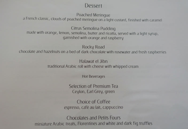 Emirates First Class Lounge Dubai-Dessert Menu