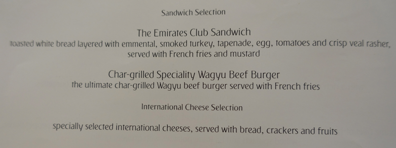 Emirates First Class Lounge Dubai Menu-Club Sandwich and Wagyu Burger