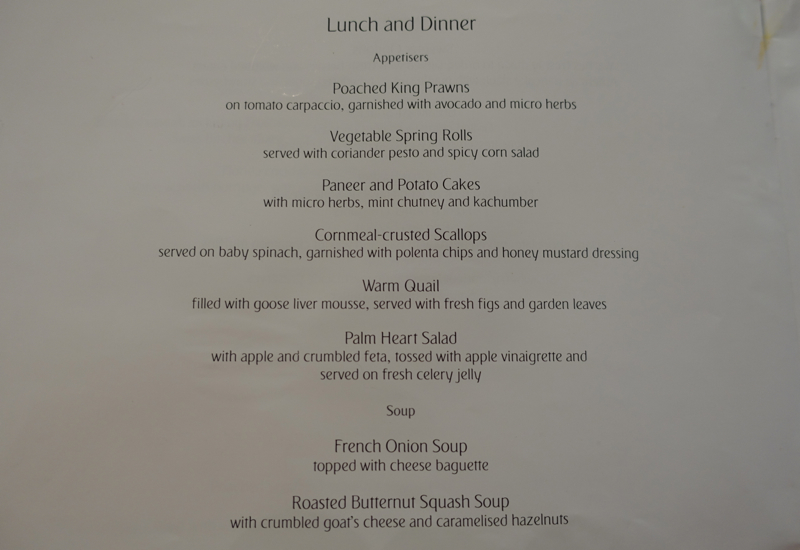 Emirates First Class Lounge Dubai Lunch and Dinner Menu-Appetizers
