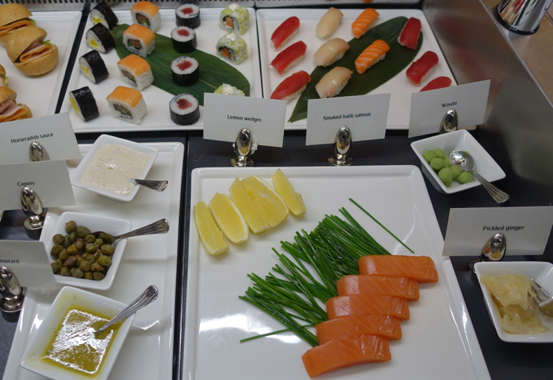 Sushi and Balik Salmon, Emirates First Class Lounge Dubai Review