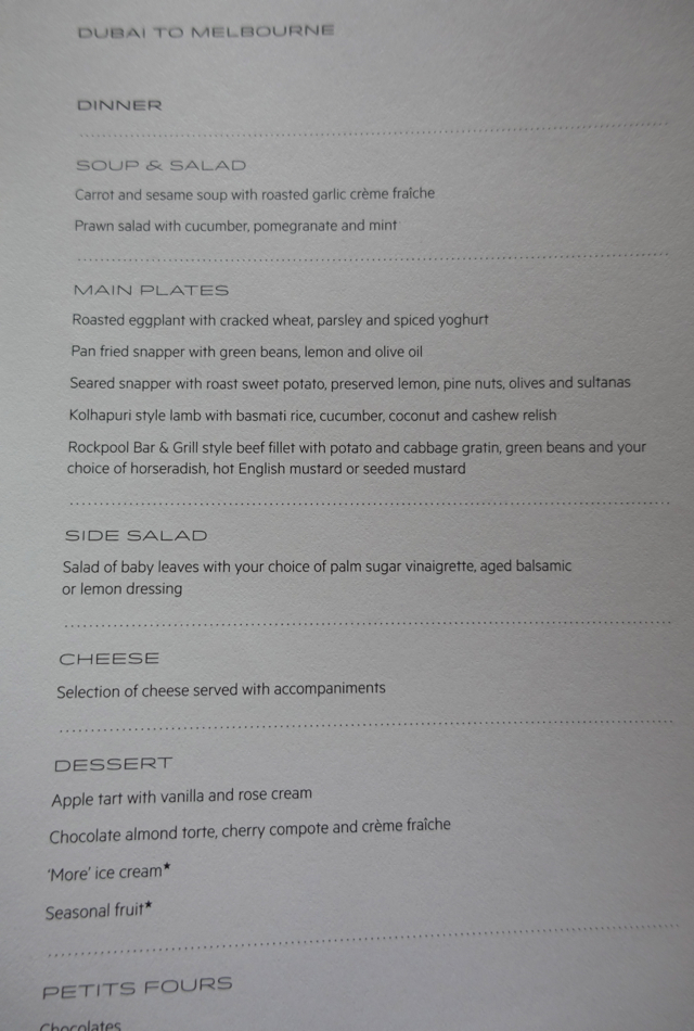 Dinner Menu, Qantas A380 First Class Review Dubai to Melbourne Australia