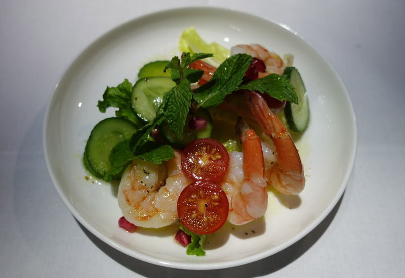 Prawn Salad with Cucumber, Pomegranate and Mint, Qantas A380 First Class Review