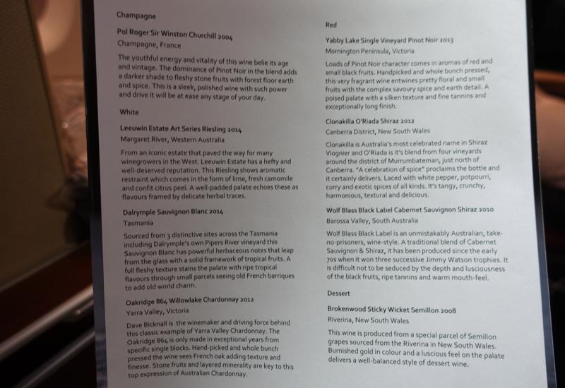 Wine List, Qantas A380 First Class
