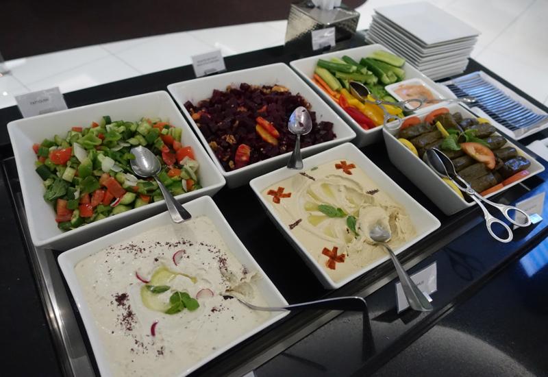 Hummus, Dips, Salads at Etihad Business Class Lounge, AUH