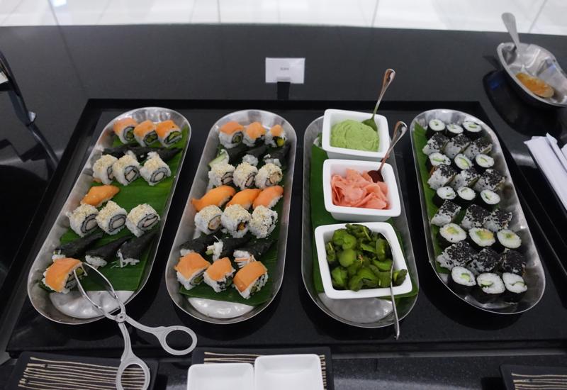Sushi, Etihad Business Class Lounge Abu Dhabi Review