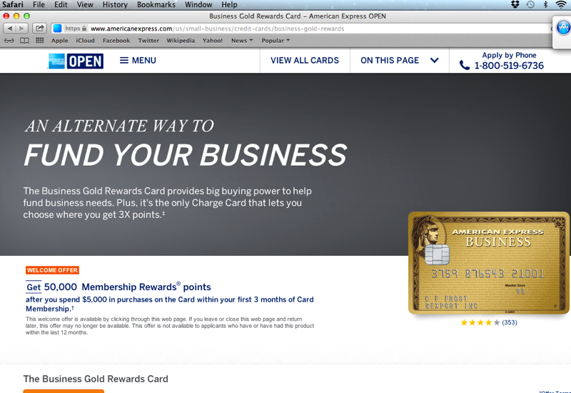 How to Get the 50K AMEX Business Gold Offer: Use Safari