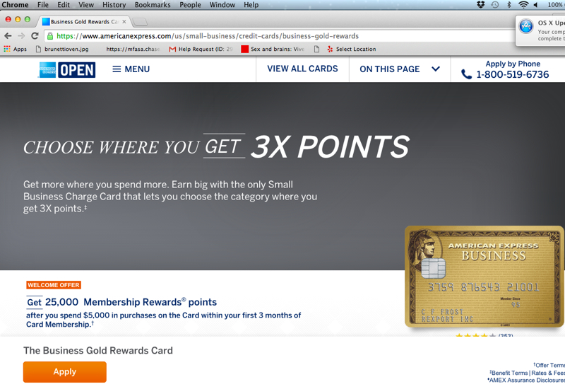 Google Chrome: Only 25K AMEX Business Gold Offer