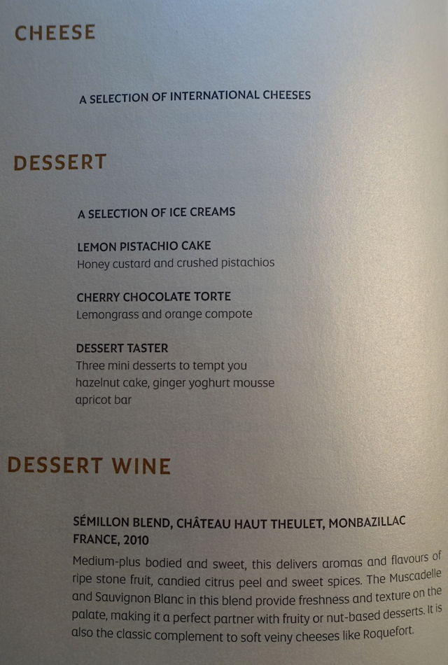 Dessert Menu, Etihad A380 First Class Apartment Review
