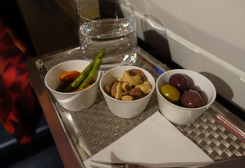 Olives, Nuts, Vegetable Chips, Etihad A380 First Apartment Review
