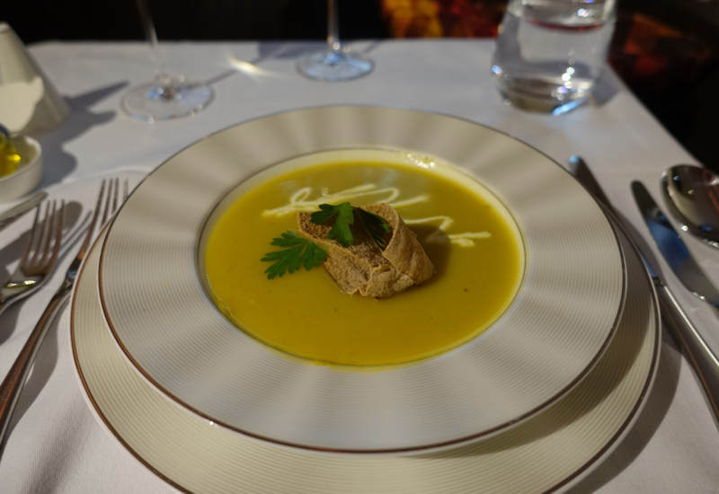 Yellow Pepper Lemongrass Soup, Etihad A380 First Apartment Review