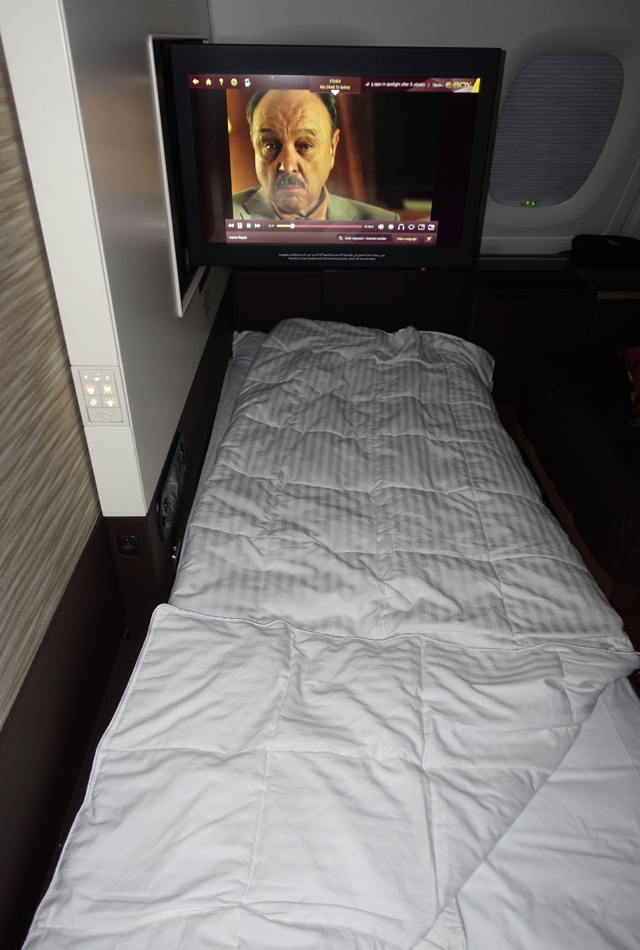 Etihad First Apartment Bed and TV, A380 Review