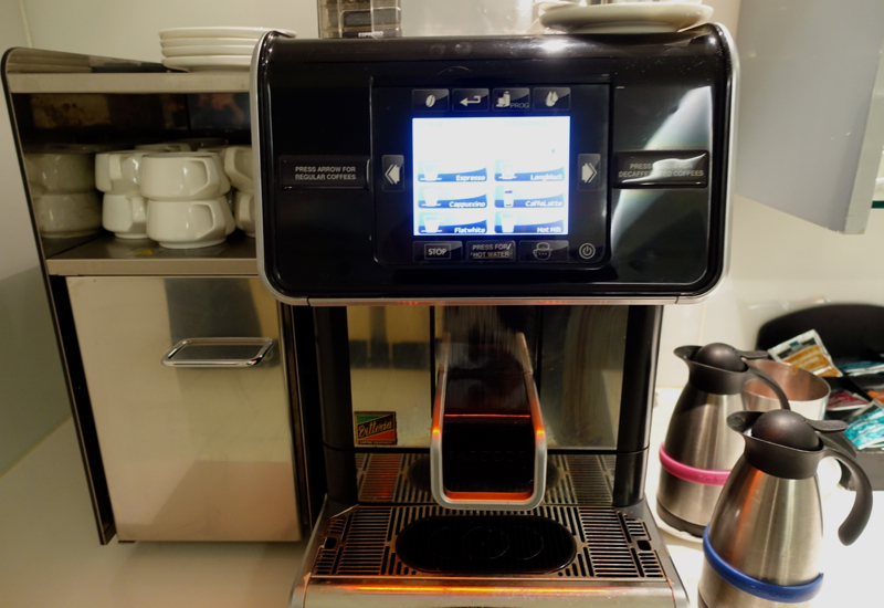 Espresso Machine and Dilmah Tea, Qantas International Business Class Lounge, Melbourne Review