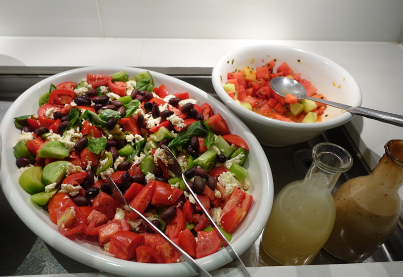 Fresh Salads, Qantas International Business Class Lounge Melbourne Review