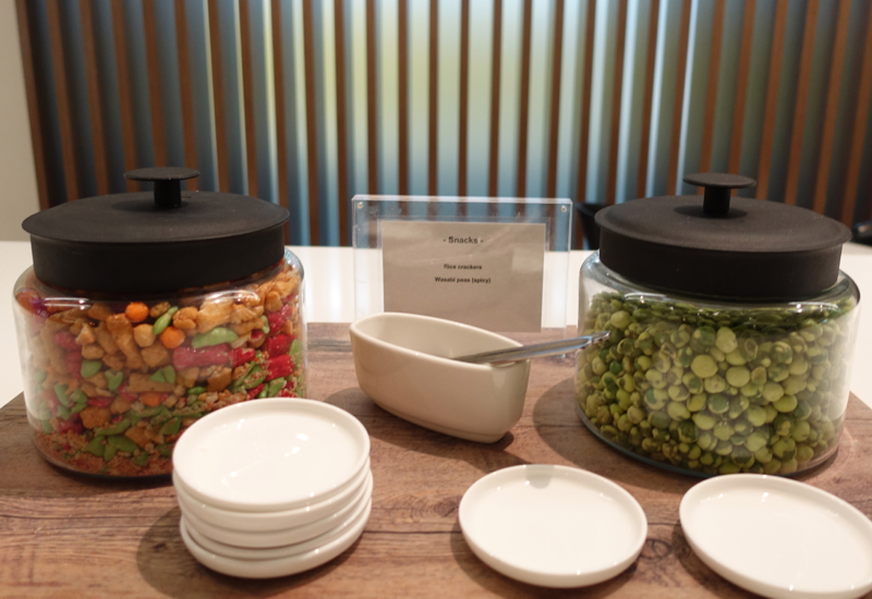 Wasabi Peas and Rice Crackers, Qantas International Business Class Lounge Melbourne Review