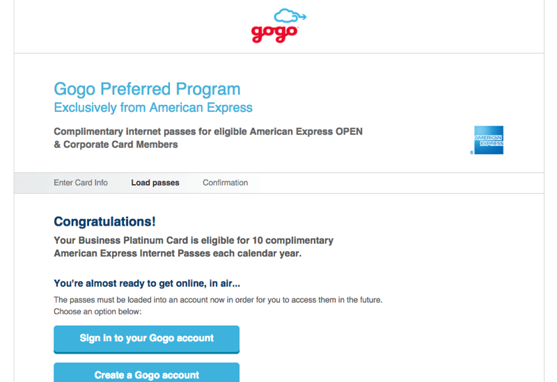 Free Gogo WiFi Passes with AMEX Business Platinum