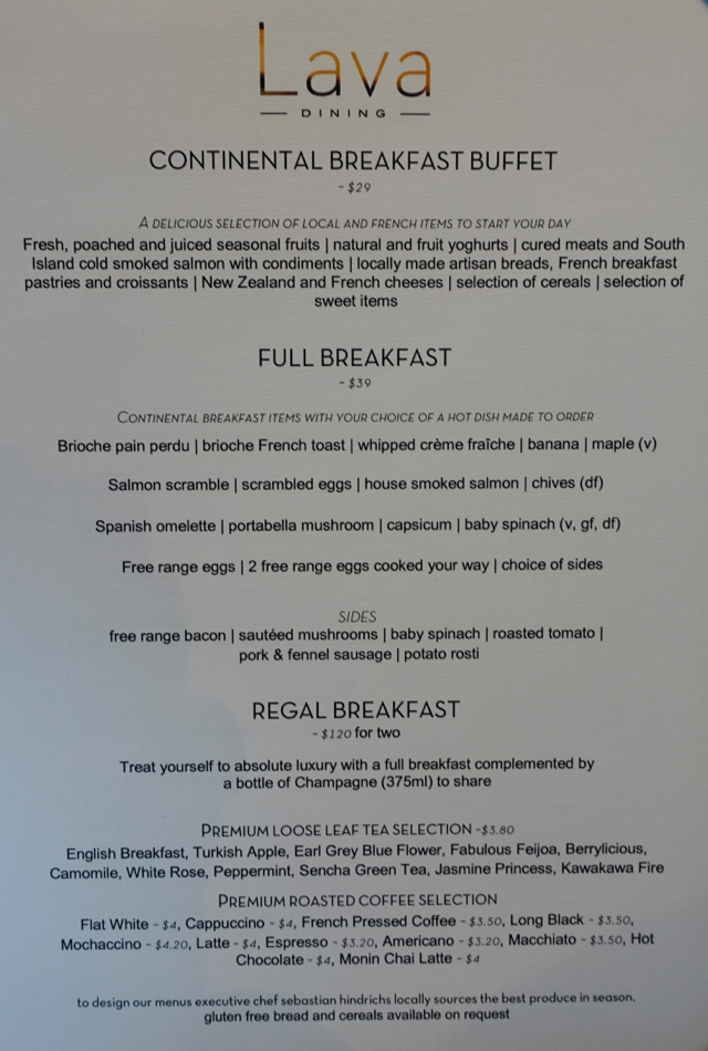 Sofitel Auckland Breakfast Buffet Menu
