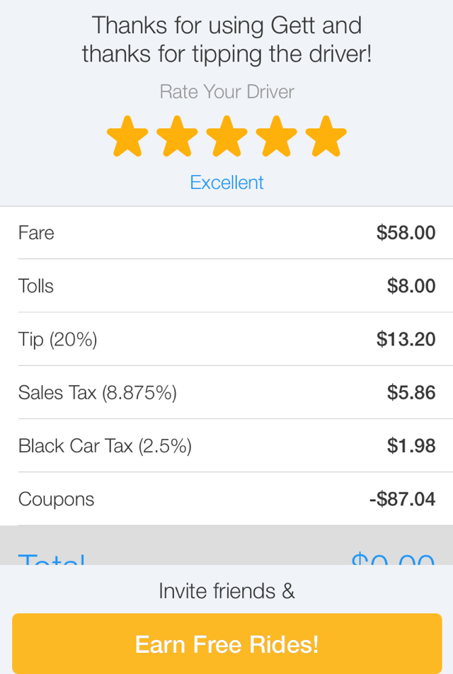 Gett: $87 from JFK Airport to NYC Including Tax and 20% Tip