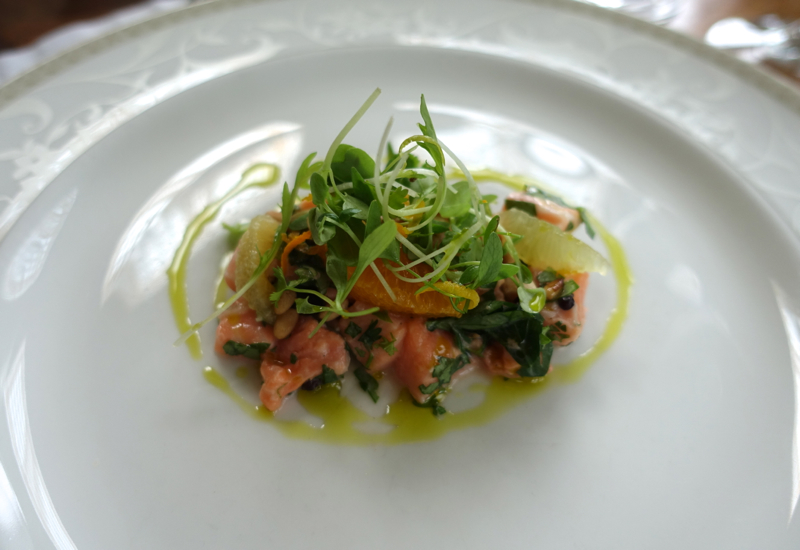 Salmon Ceviche, Otahuna Lodge Dining Review