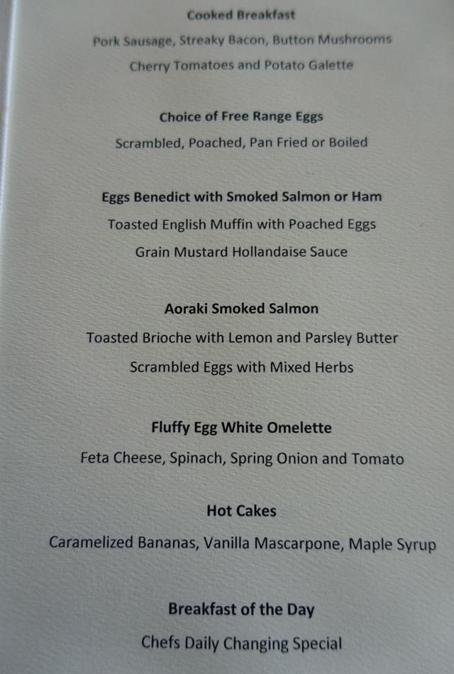 Breakfast Menu, Matakauri Lodge New Zealand Review