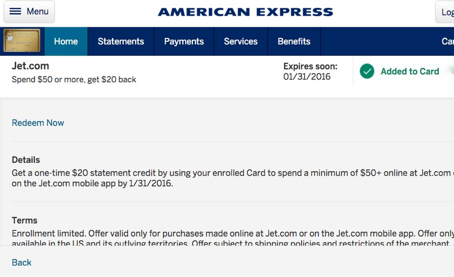 AMEX Jet.com Offer