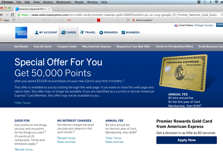 50K AMEX Premier Rewards Gold Signup Bonus Offer