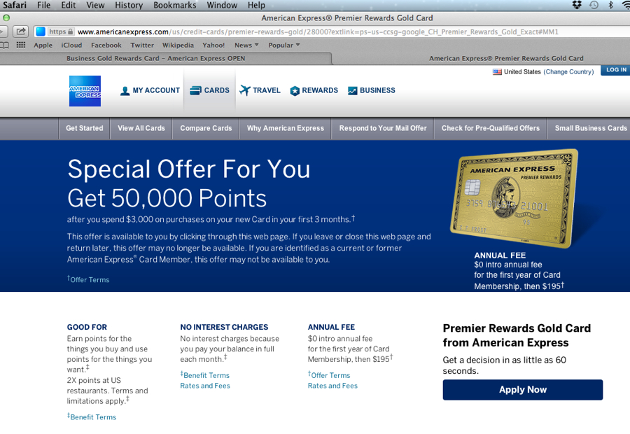 50K American Express Premier Rewards Gold Card Bonus Offer in Safari Browser