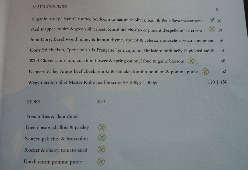 Menu, The Dining Room, Park Hyatt Sydney Review
