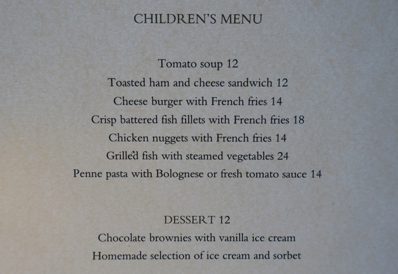 Kids' Menu, Park Hyatt Sydney