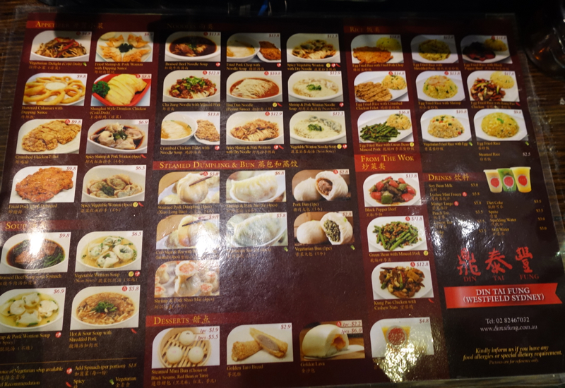 Din Tai Fung Picture Menu Sydney Review