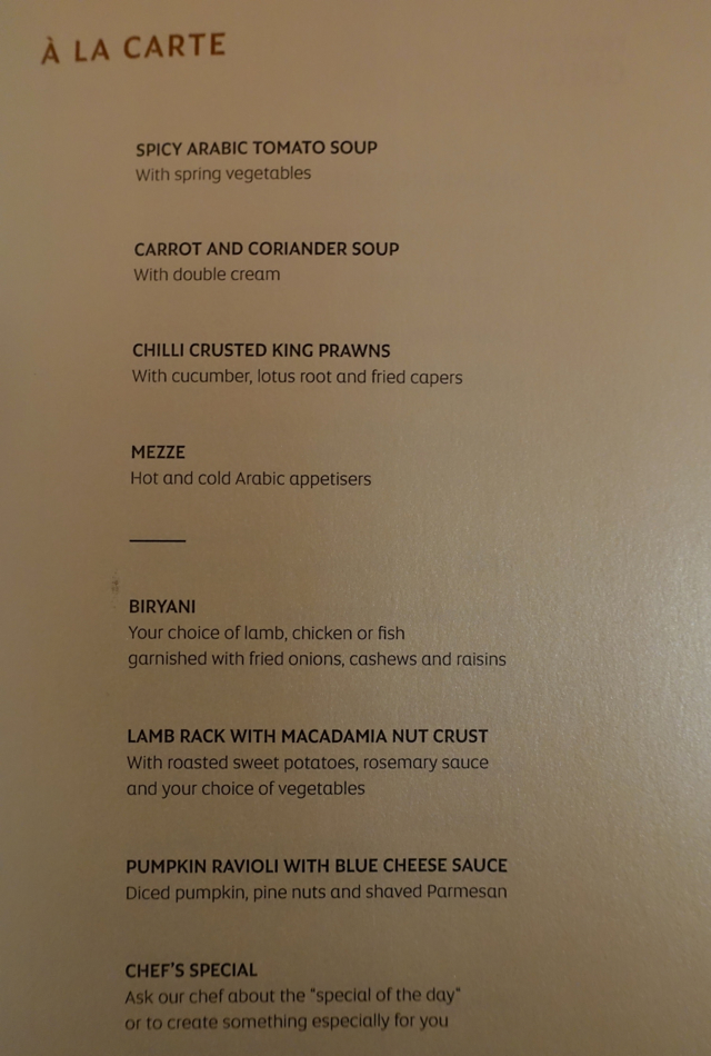 Menu, Etihad First Apartment Sydney to Abu Dhabi