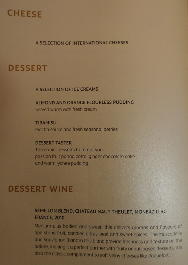 Dessert Menu, Etihad First Apartment Sydney to Abu Dhabi