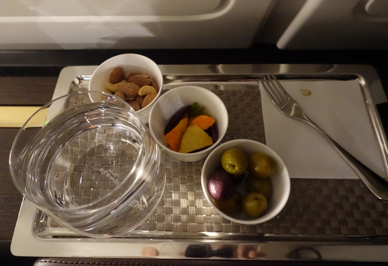 Nuts, Vegetable Chips and Olives, Etihad First Apartment Review