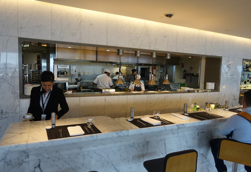 Bar Seating, Qantas First Class Lounge Sydney Review