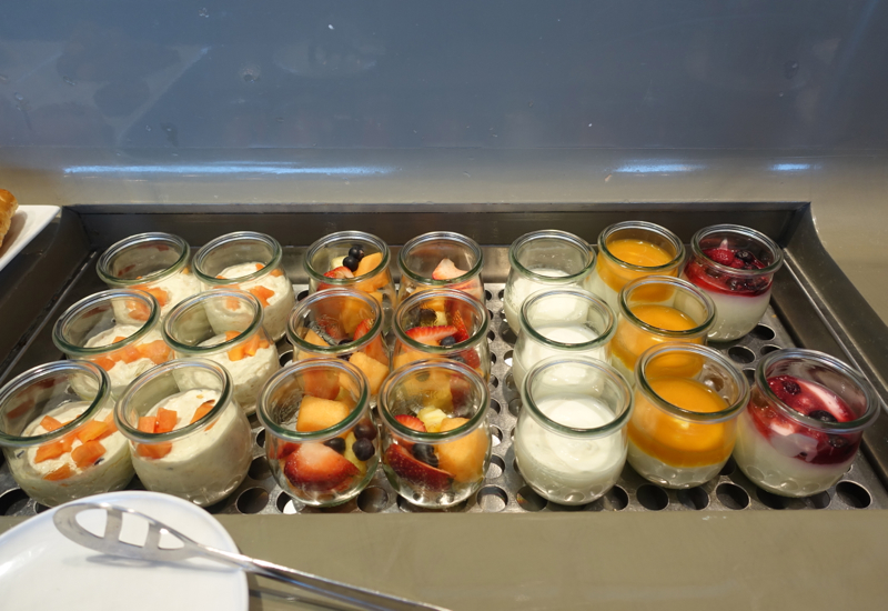Fruit and Yogurt, Qantas First Class Lounge Sydney Review