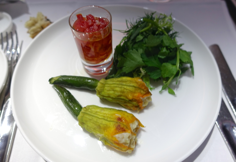 Zucchini Blossoms Stuffed with Crab, Qantas First Class Review