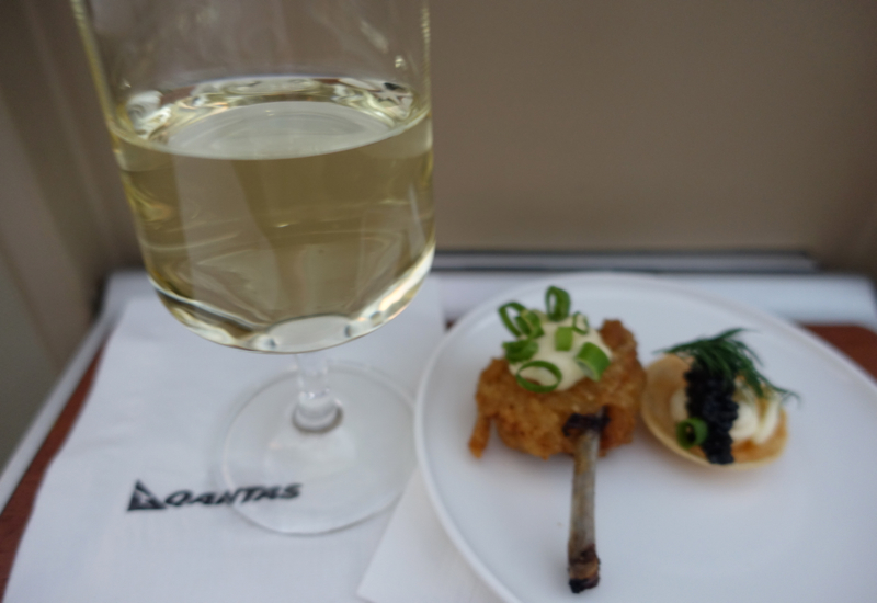 Riesling and Canapes, Qantas A380 First Class SYD-LAX Review
