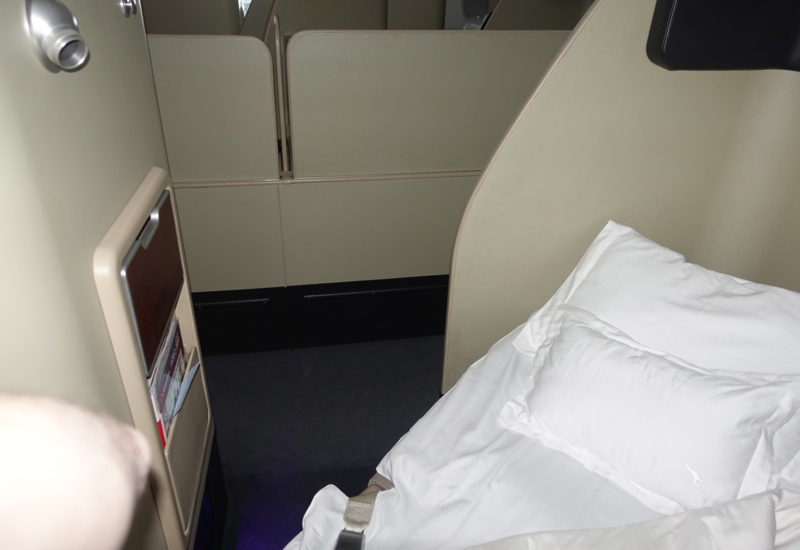 Review: Qantas A380 First Class Bed: Head Near the Aisle