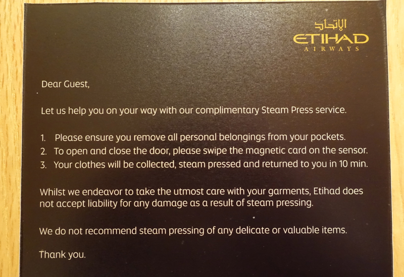 Steam Press Service, Etihad Arrivals Lounge Abu Dhabi Review