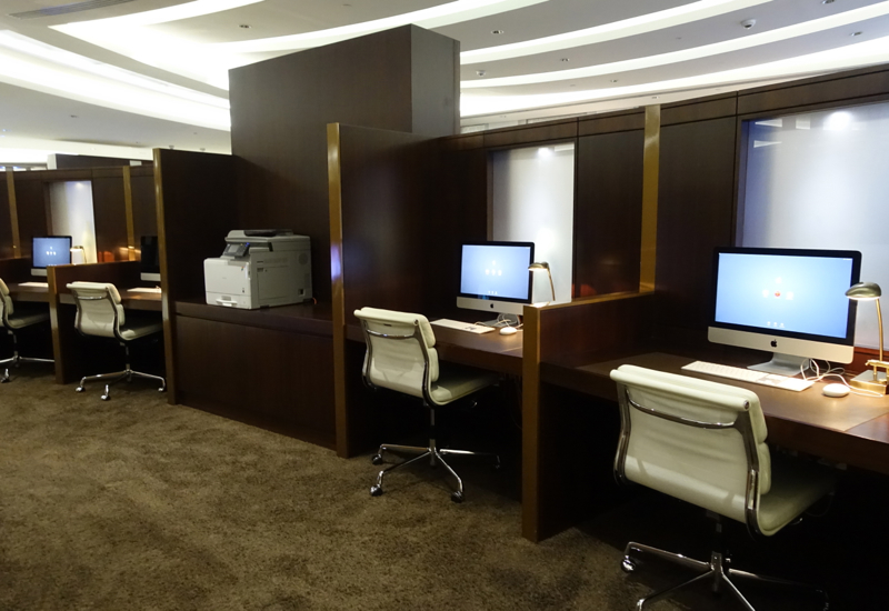 Business Center, Etihad Premium Lounge Abu Dhabi Review