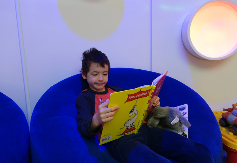 Reading in Kids' Playroom, Etihad Premium Lounge Abu Dhabi Review
