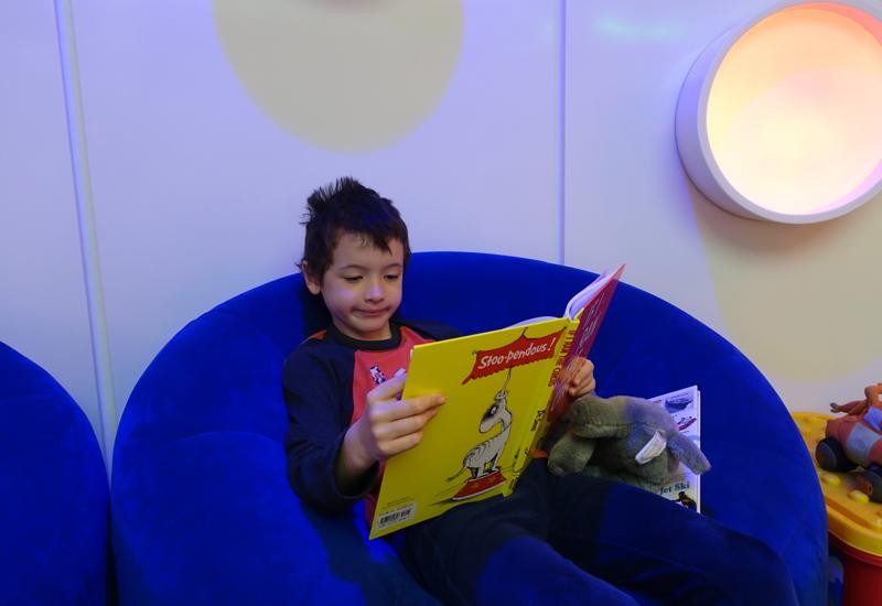 Reading in Kids' Playroom, Etihad Premium Lounge Abu Dhabi Review