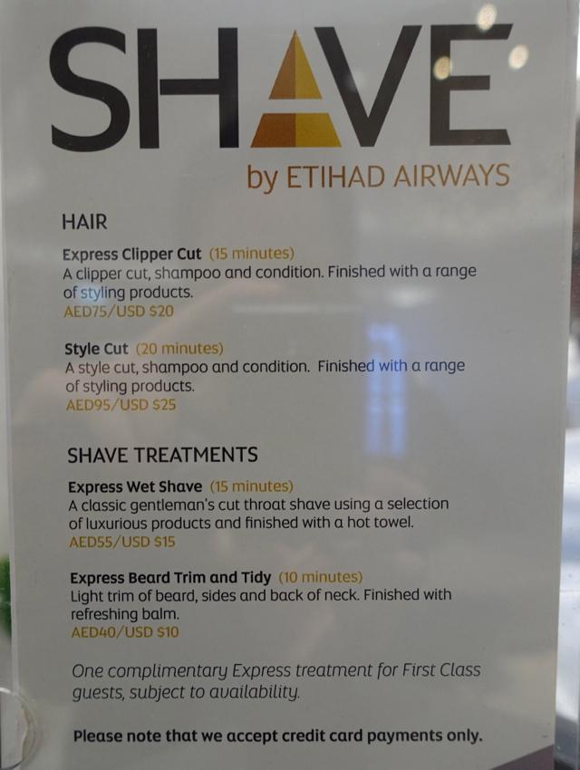 Shave Menu, Etihad Premium Lounge Abu Dhabi Review