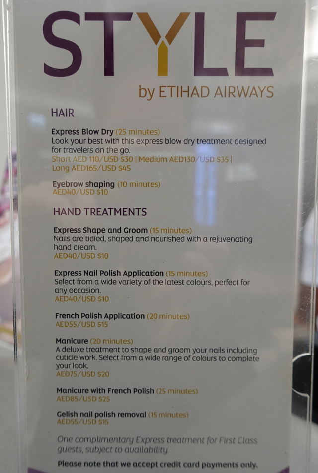Style Menu, Etihad Premium Lounge Abu Dhabi Review