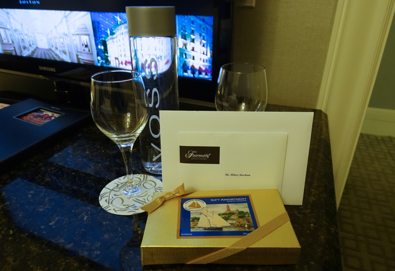 Welcome Chocolates and Voss Water, Fairmont Copley Plaza Review