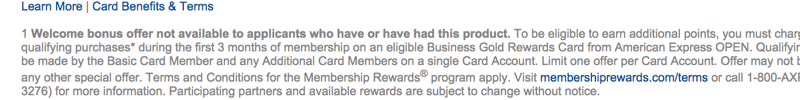 AMEX Business Gold Card Signup Bonus Not Available to Applicants Who Have or Have Had the Card