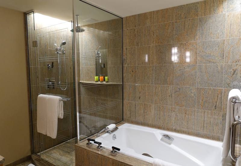 Soaking Tub and Separate Rain Shower, Mandarin Oriental Boston Review